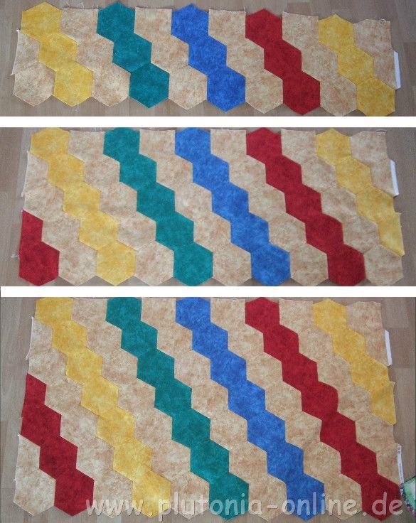 Patchwork-Babydecke aus Hexagon genäht - Fortschritt