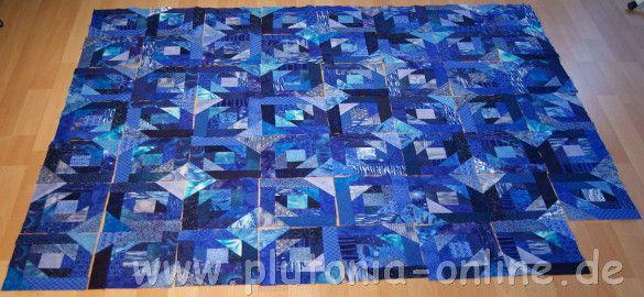 Patchworkblock Pineapple nach einer Inspiration von Quiltville in Blautönen