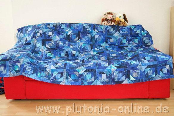 Patchworkdecke aus dem Patchworkblock Pineapple nach einer Inspiration von Quiltville in Blautönen