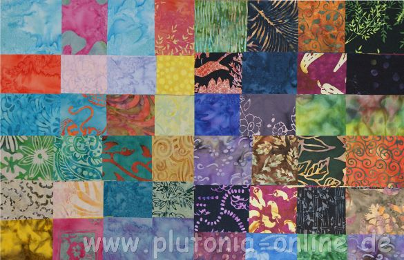 Helle und dunkle Batik-Stoffe aus dem Charmswap 2011