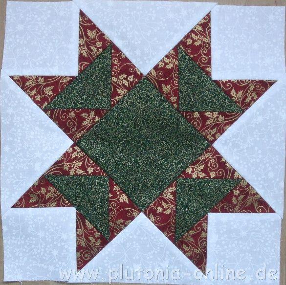 Block Nummer 3 aus der weihnachtlichen Patchworkdecke Sterntaler